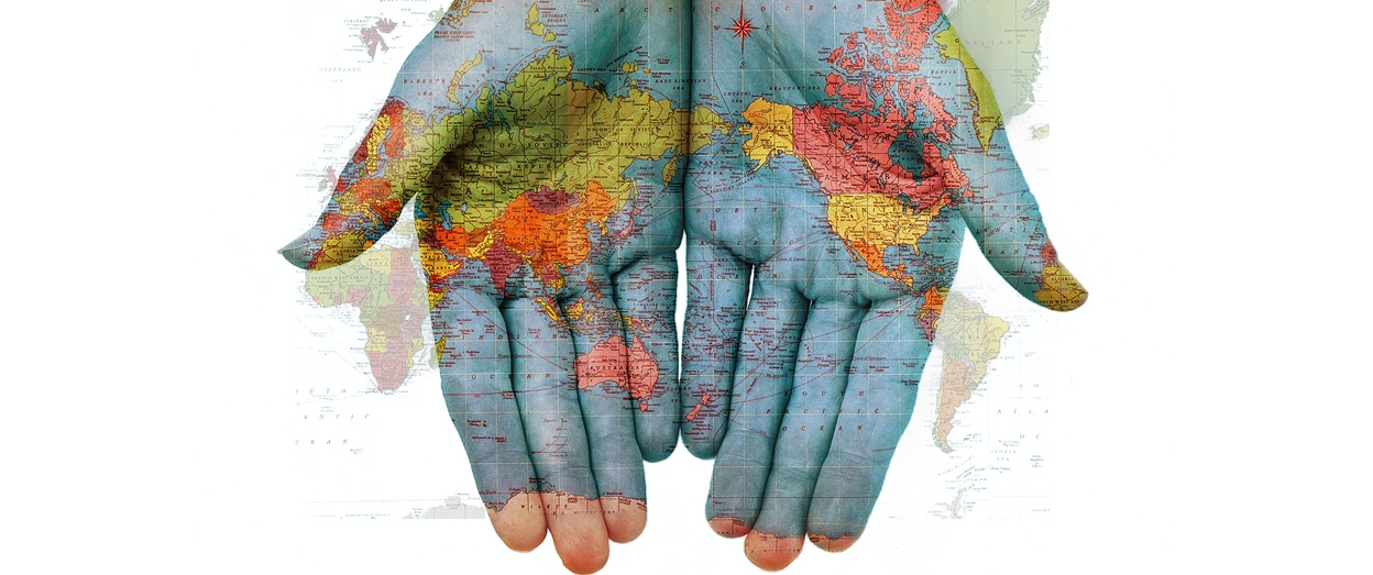 image world map hands